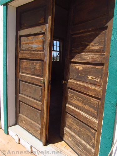 Doors into the Mount Trumbull Schoolhouse.  There is a back door, too.  Grand Canyon-Parashant National Monument, Arizona