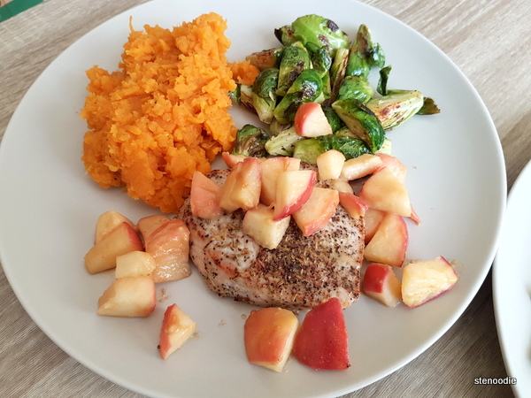 Rosemary Pork and Apple Chutney with Mashed Sweet Potatoes and Brussels Sprouts