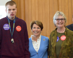 CT State Rep. Livvy Floren (R-149) with Greenwich residents Lynn and Karl Arezzini at the Capitol for Autism Day.