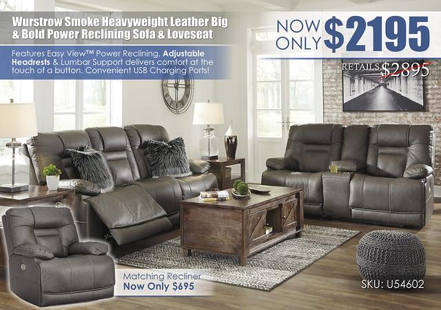 Wurstrow Smoke Reclining Sofa & Loveseat_U54602_update