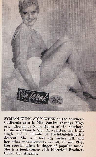 Miss Sandra Moyers - Neon Queen of the Southern California Electric Sign Association - April 1957
