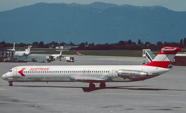 OE-LDX Austrian MD-82  'Tirol'  at GVA 1986 (Rescanned)