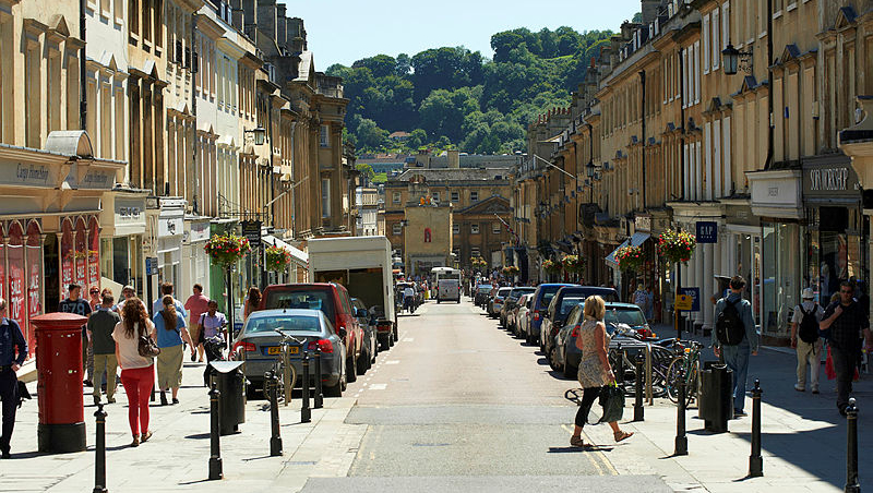 shopping on Milsom Street in Bath