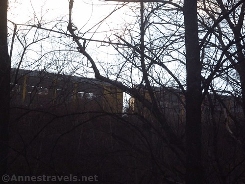 It's a little difficult to see the trains, but they go by fairly frequently above Corbett's Glen, Penfield, New York