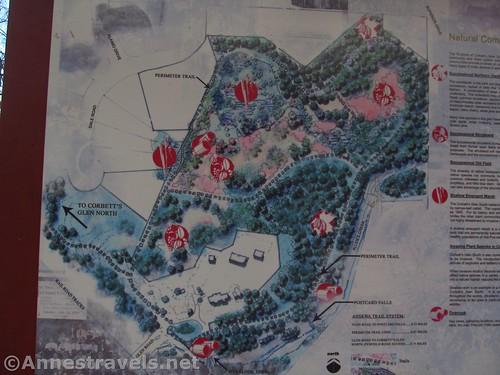 Map from the kiosk at Corbett's Glen in Penfield, New York. The