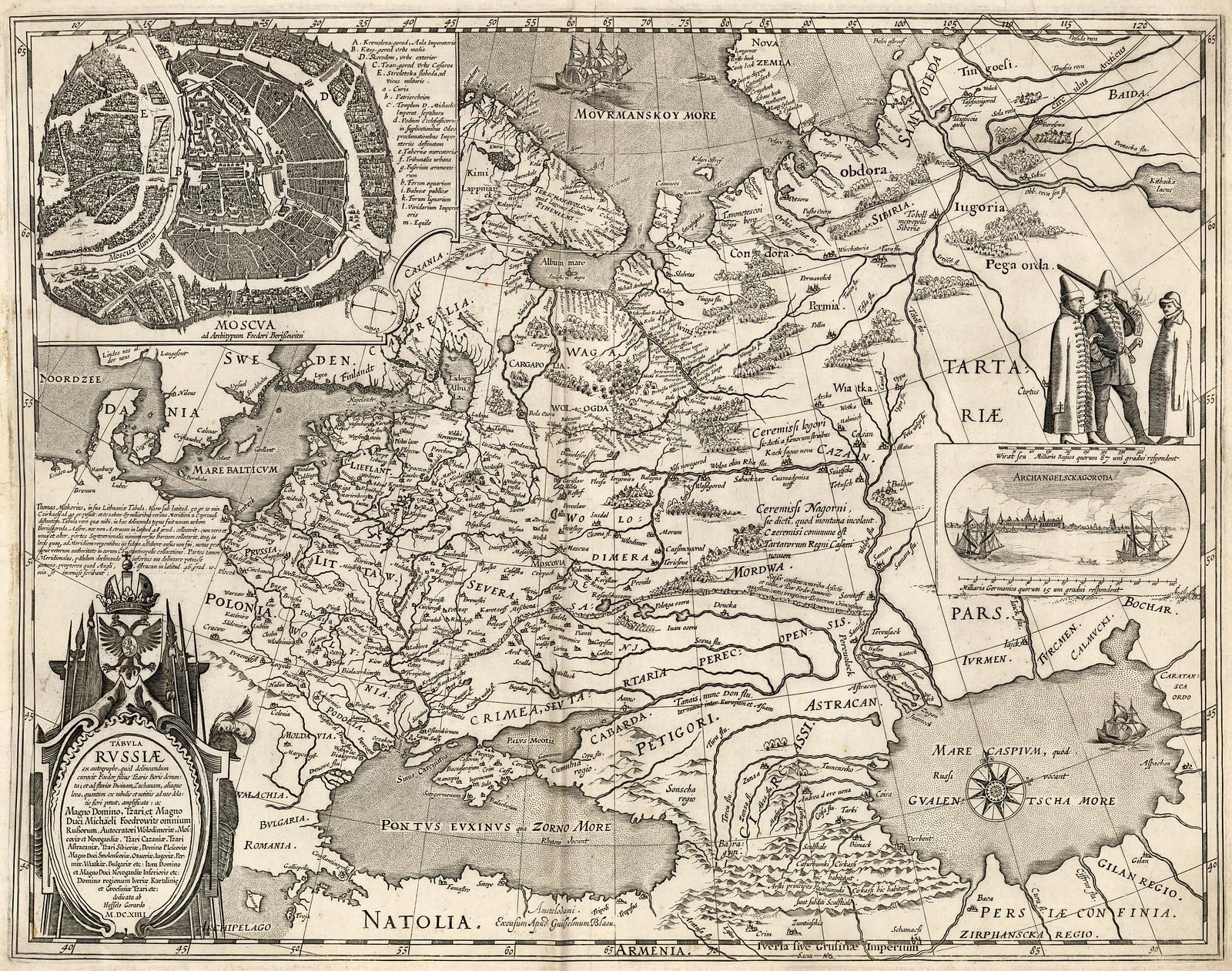 1614. Карта России и ее севера, а так же карта Москвы