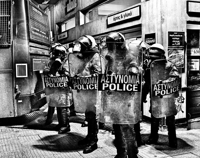 Greek riot cops just before they go into actions against members of the Armenian community in the northern city of Thessaloniki tonight. Tear gas and flash grenades used against those gathered to mark 1915 massacres.