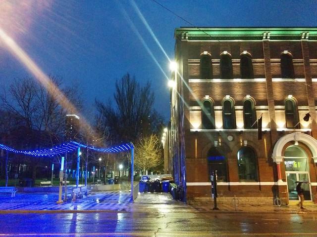 Barbara Hall Park and the 519 #toronto #churchandwellesley #churchstreet #barbarahallpark #the519 #twilight #night #blue #lights #rain