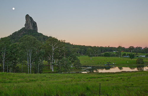 australia queensland sunshinecoast glasshousemountains landscape mountain moon trees green lake water sky sunset