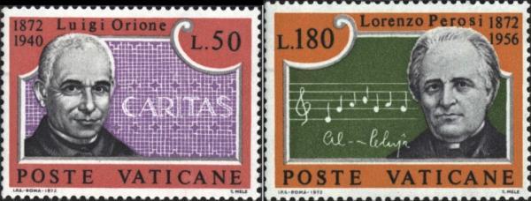 Známky Vatikán 1972 Orione a Perosi, neraz. séria MNH