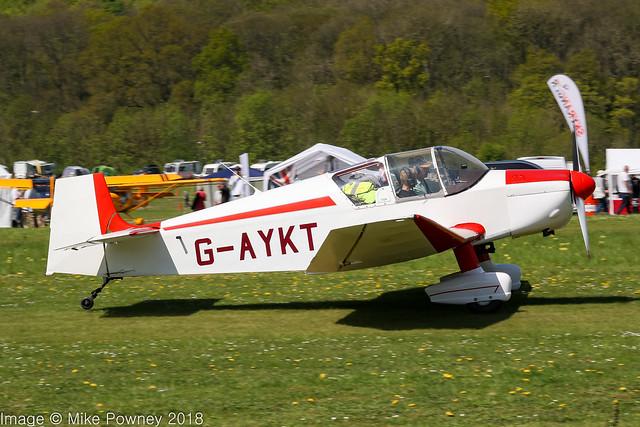 G-AYKT - 1957 SAN built Jodel Jodel D.117, rolling for departure on Runway 03 at Popham