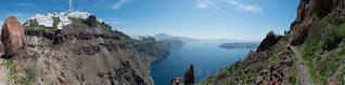 Panorama of Imerovigli  as seen from the Ekklisia Theoskepasti hiking trail