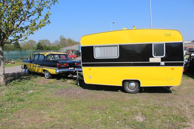 1958 Ford Custom 300 and period caravan
