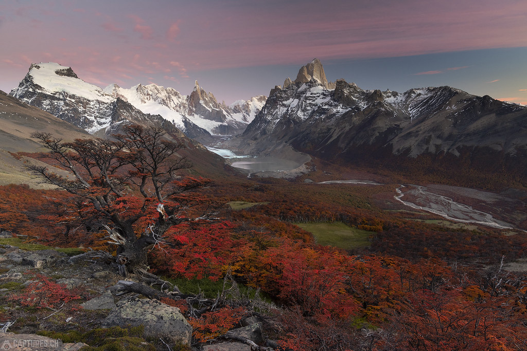 Red colors everywhere at sunrise - El Chalten