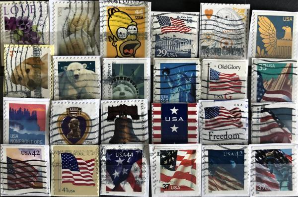 Známky USA mix 24 ks rôznych samolepiacich