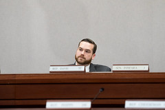 """Rep. Davis listens to testimony on the """"Prioritize Progress"""" plan to fund transportation project without tolls."""