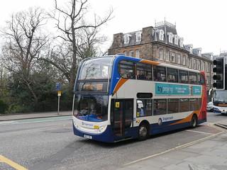 Stagecoach Dennis Trident 2 Alexander Dennis Enviro 400 NK07HBL 19151 operating service X55 to Dunfermline at Queen Street, Edinburgh, on 16 April 2019.