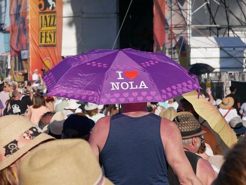 I <3 NOLA umbrella at Acura at Jazz Fest Day 2 - 4.27.19. Photo by Louis Crispino.