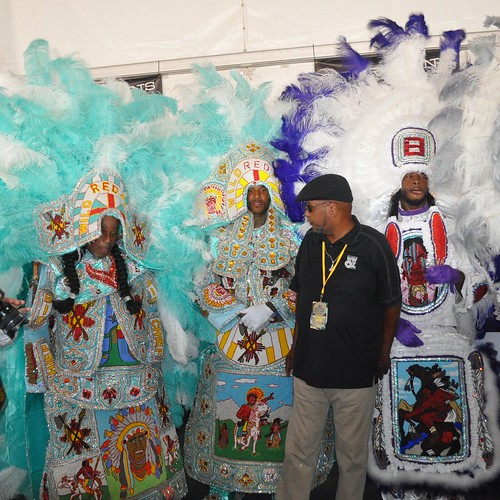 Wild Red Flames Big Chief David Perry and Second Chief Michael Dunware