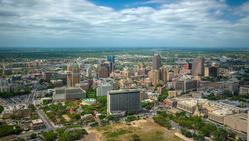 sanantonio city cityscape aerial skyline downtown skyscraper texas san antonio satx toweroftheamericas tower americas