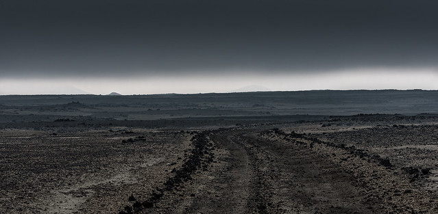 gloomy silver light at the horizon