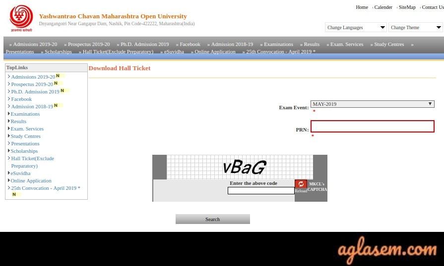 YCMOU Hall Ticket Aglasem