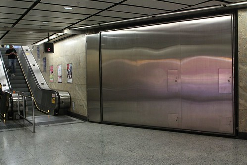 Steel flood doors at Mong Kok station Exit C3 towards Langham Place