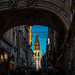View of sun hitting the exterior of the Cathédrale Notre-Dame de Rouen from Gros-Horloge Arch on Rue du Gros Horloge, Rouen, France-86a by Yasu Torigoe