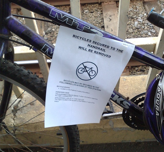 Bentleigh station - don't park your bike here