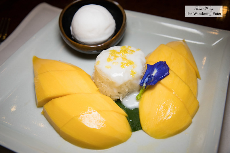 Mango sticky rice with coconut ice cream