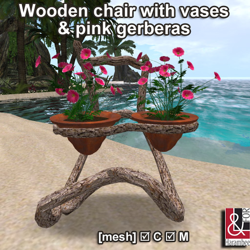 Wooden chair with vases & pink gerberas