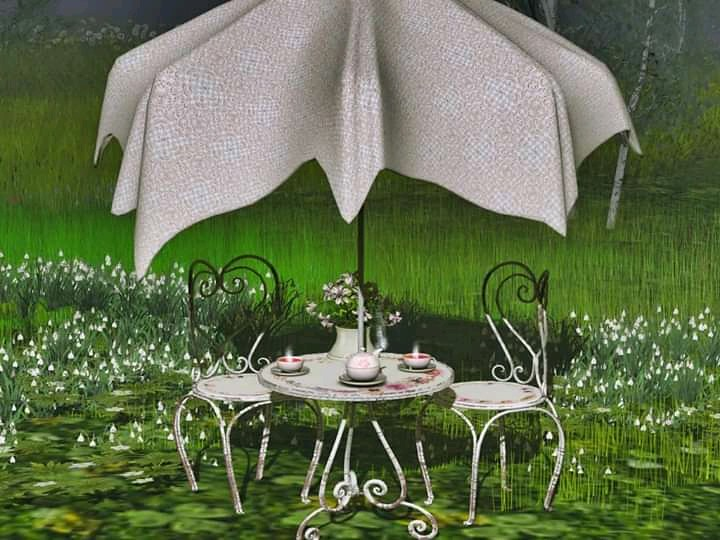 New exclusive orinal mesh made for Sanarae event this round, a wonderful shabby chic Spring spirit table set. Demo here: Sanarae: https://maps.secondlife.com/secondlife/Spring%20Morning/54/132/4011