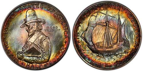 1920-MS68-toned-Pilgrim-half-dollar