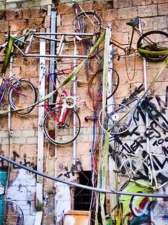 Bicycle art, Teufelsberg. Abandonded US spy station, Berlin