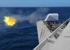 USS Montgomery (LCS 8) fires its MK 110 57mm gun during training, April 20. (U.S. Navy/MC2 Morgan K. Nall/)