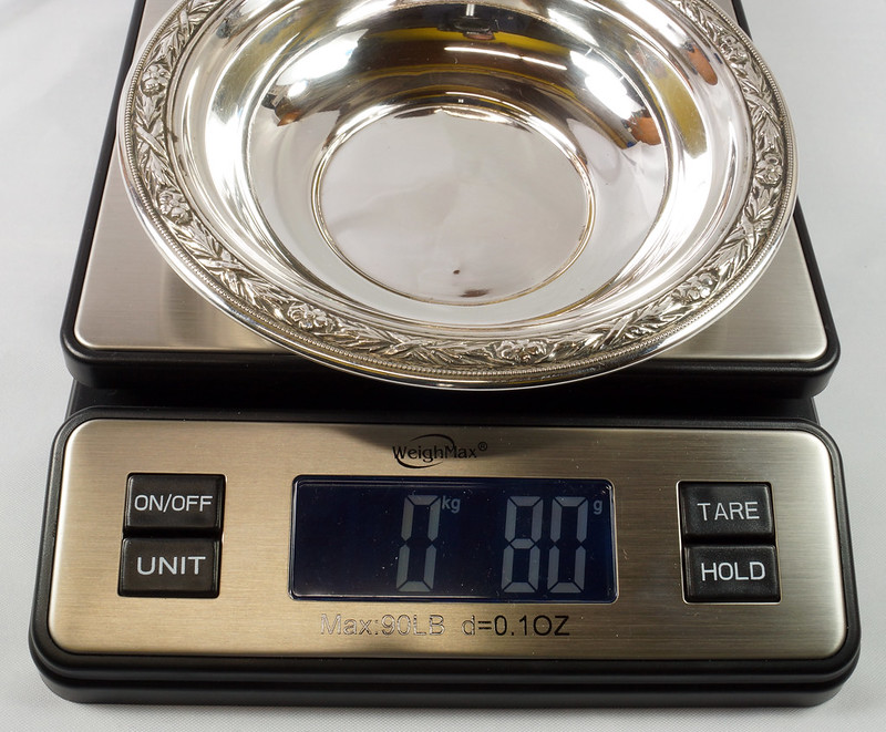RD27846 Vintage Wallace Sterling Silver Bowl Dish Pattern # 3621 Weighs 80 Grams DSC00706