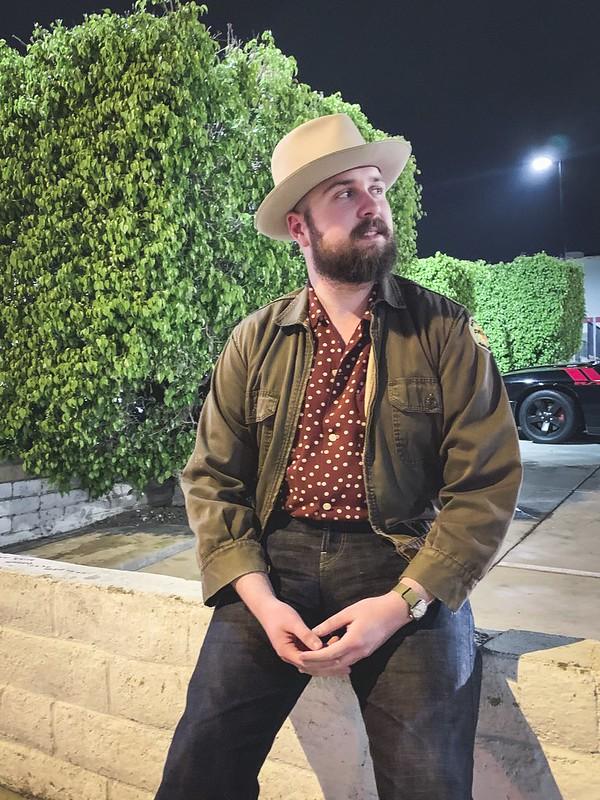 Spencer - silverbelly western fedora, brown workwear short jacket, red polka dot sport shirt, thee teenaged denim jeans, white converse