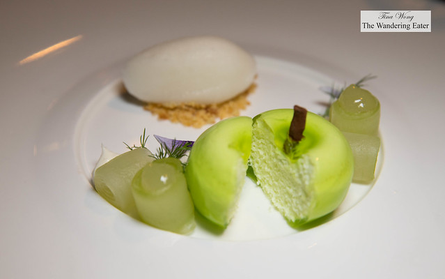 Apple, Cucumber, Dill - Apple parfait, cucumber-dill compote, lime cream cheese, cinnamon crumble, lemongrass sorbet