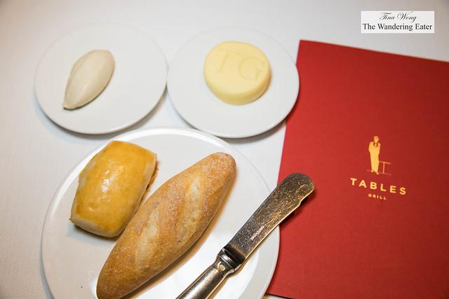 Bread, Le Beurre Bordier butter for Tables Grill and black truffle butter from Le Beurre Bordier