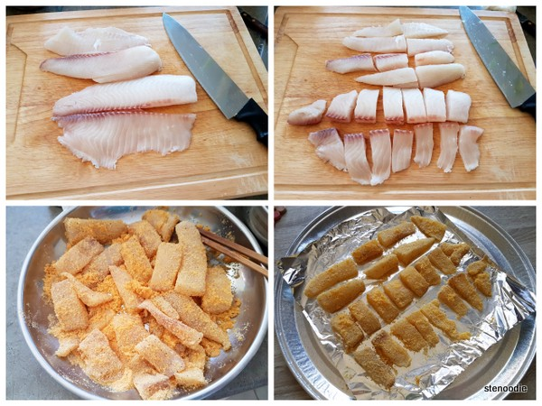 coating tilapia fillets