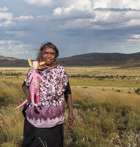 Featured artist Cynthia Burke of Tjanpi Desert Weavers. Photograph by Rhett Hammerton.