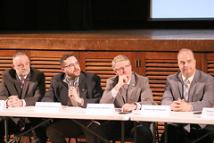 (L-R) Reps. Vail, Davis, Ackert and Sen. Champagne take questions during a regional forum on tolls in Vernon