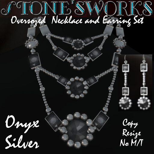 Onyx and Silver Necklace & Earring Set Stone's Works - TeleportHub.com Live!