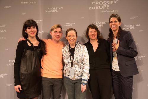 CE19 - Award Ceremony / Zorah Zellinger, Michael Zeindlinger, Sabine Gebetsroither, Katharina Riedler (Crossing Europe Team); Karin Schmid (Moderator) / photo © Christoph Thorwartl / subtext.at