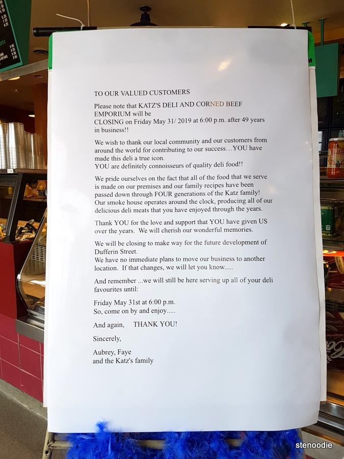 Katz's Deli & Corned Beef Emporium reason closing