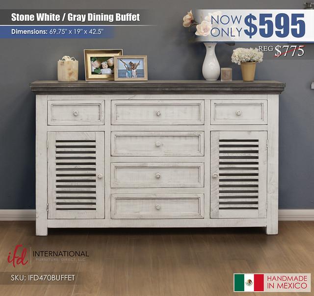 Stone White & Gray Dining Buffet_IFD470BUFFET