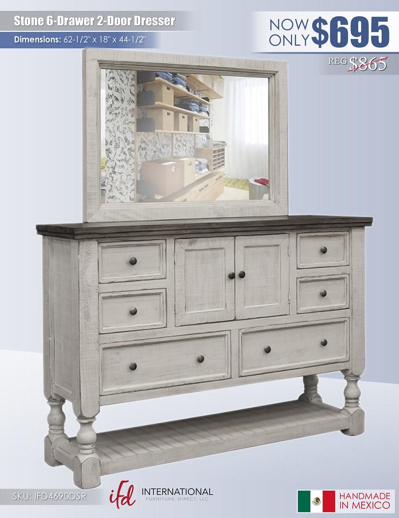 Stone 6 Drawer 2 Door Dresser_IFD4690DSR