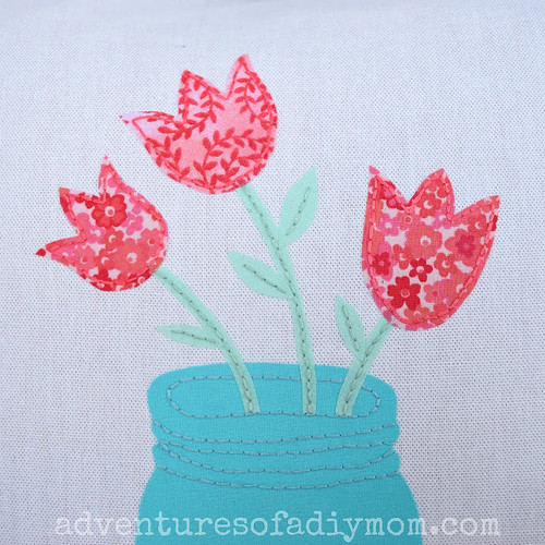 Fabric Applique Embroidery - Tulips in a Jar 1