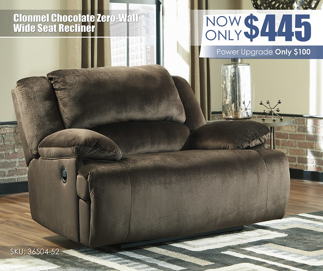 Clonmel Chocolate Zero-Wall Wide Seat Recliner_36504-52
