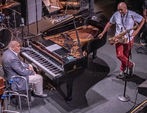 Ellis Marsalis and Branford Marsalis  at Piano Night - April 29, 2019. Photo by Marc PoKempner.